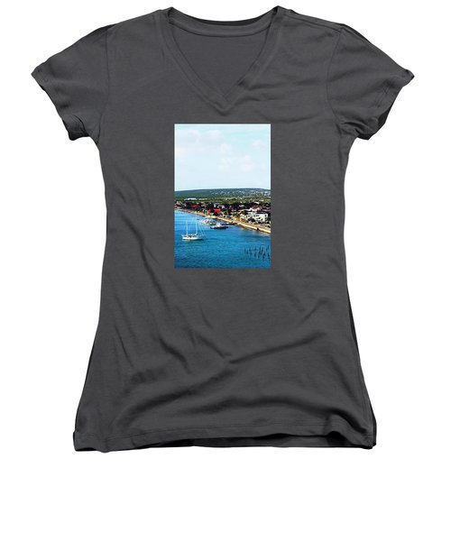 Bonaire Women's V-Neck T-Shirt (Junior Cut) by Infinite Pixels