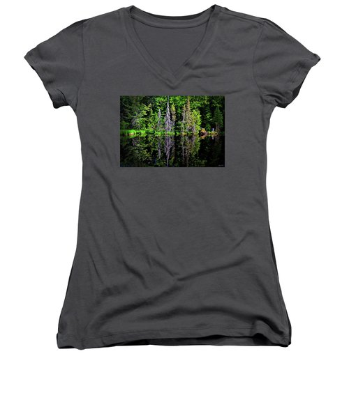Women's V-Neck T-Shirt (Junior Cut) featuring the photograph Bond Falls - Michigan 001 - Reflection by George Bostian