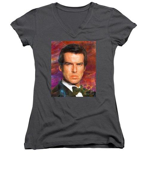 Bond - James Bond 5 Women's V-Neck T-Shirt (Junior Cut) by John Robert Beck