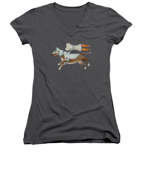 Women's V-Neck T-Shirt (Junior Cut) featuring the painting Bone Commander - Apparel  by Jindra Noewi
