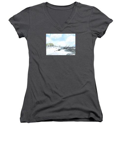 Bone Yard At Capers Island Women's V-Neck T-Shirt