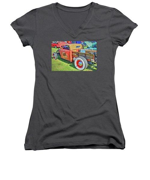 Boneyard Bombs Women's V-Neck T-Shirt (Junior Cut) by Marion Johnson