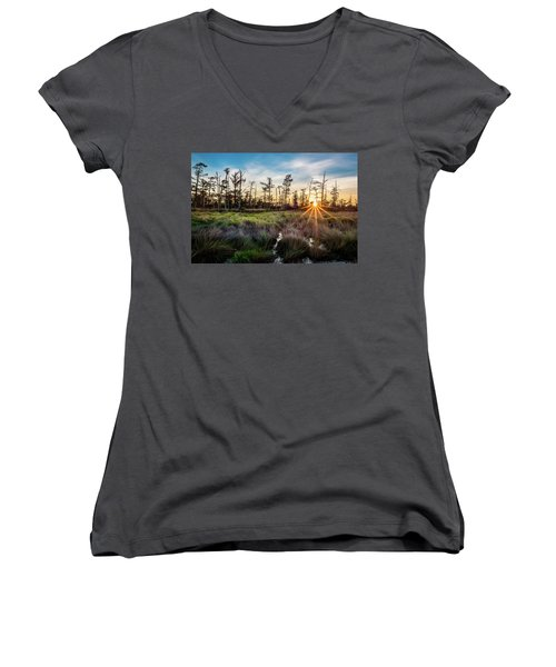 Bonnet Carre Sunset Women's V-Neck T-Shirt (Junior Cut) by Andy Crawford