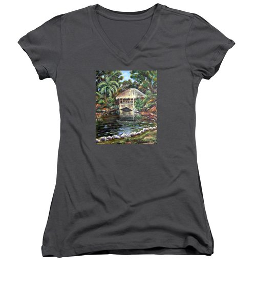 Bonnet House Chickee Women's V-Neck T-Shirt (Junior Cut) by Patricia Piffath
