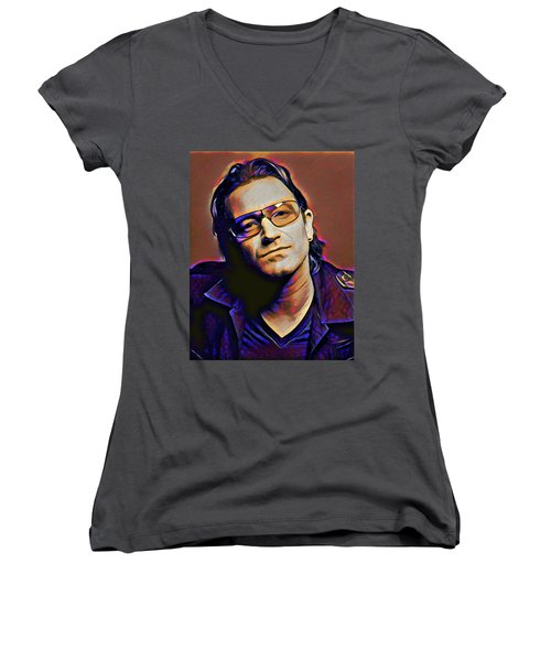 Bono Women's V-Neck T-Shirt (Junior Cut) by Gary Grayson