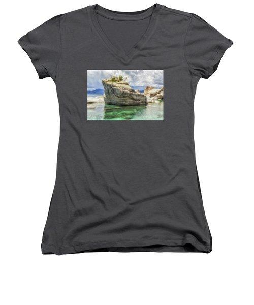 Bonsai Rock And Rain Shower Women's V-Neck T-Shirt (Junior Cut) by Marc Crumpler