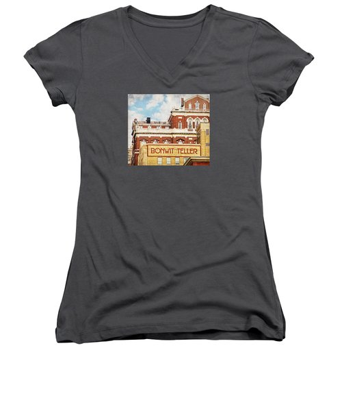 Women's V-Neck featuring the photograph Bonwit Teller by Alice Gipson