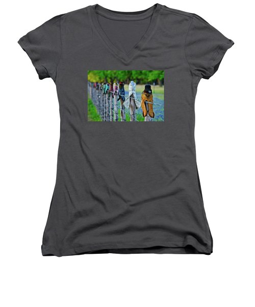 Women's V-Neck T-Shirt (Junior Cut) featuring the photograph Boots On The Fence by Linda Unger