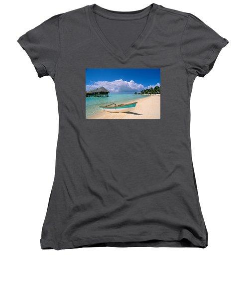 Bora Bora, Hotel Moana Women's V-Neck T-Shirt
