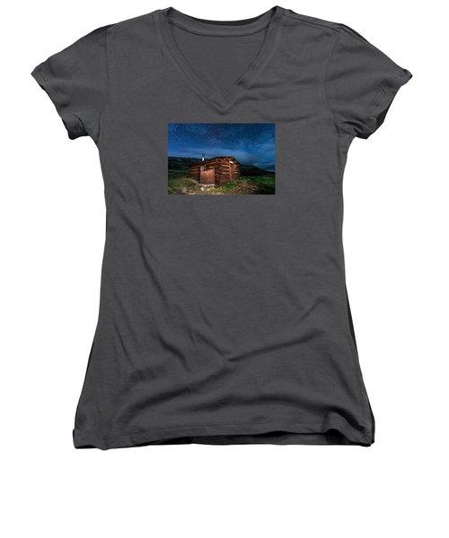 Boreas Pass Cabin Moonlit Night Women's V-Neck T-Shirt (Junior Cut) by Michael J Bauer