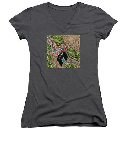 Borrachera Women's V-Neck T-Shirt (Junior Cut) by Holly Wood