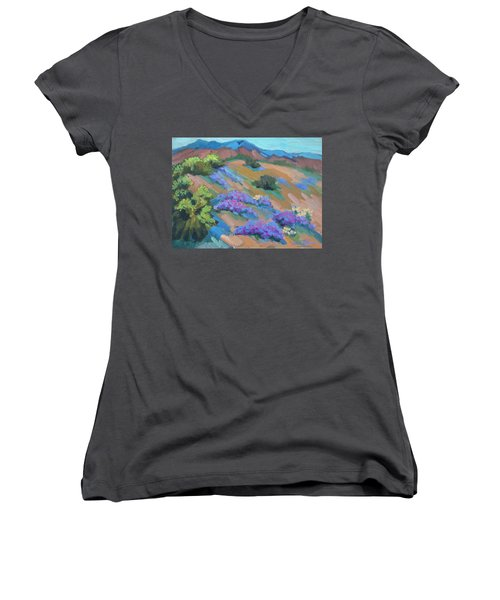 Women's V-Neck T-Shirt (Junior Cut) featuring the painting Borrego Springs Verbena by Diane McClary