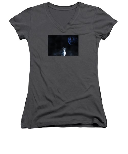 Women's V-Neck T-Shirt (Junior Cut) featuring the photograph Borzoi Wolf-hound, Hunting Under A Full Moon by Christian Lagereek