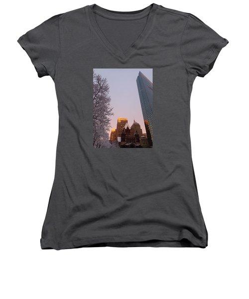Boston 02/05/16 Women's V-Neck T-Shirt (Junior Cut) by Robert Nickologianis