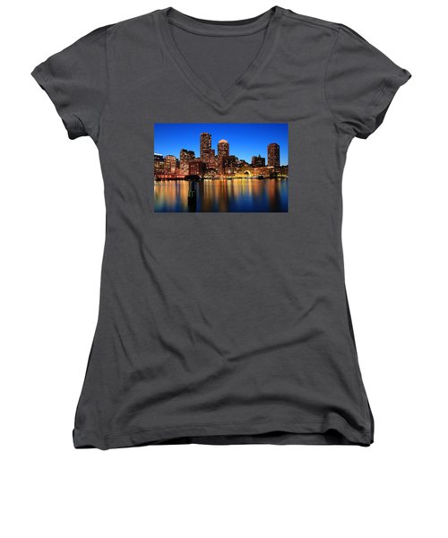 Boston Aglow Women's V-Neck T-Shirt (Junior Cut) by Rick Berk