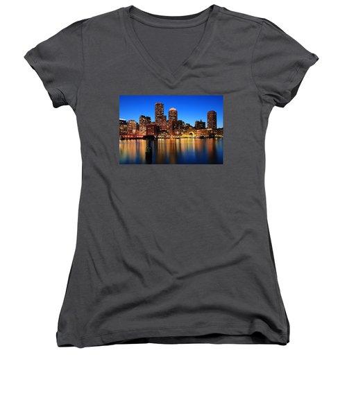 Boston Aglow Women's V-Neck T-Shirt