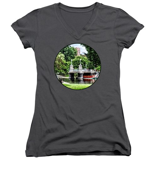 Boston Ma - Boston Public Garden Bridge Women's V-Neck
