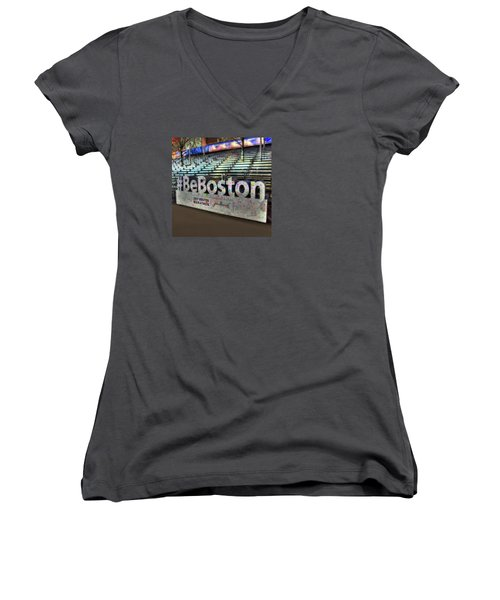 Women's V-Neck T-Shirt (Junior Cut) featuring the photograph Boston Marathon Sign by Joann Vitali
