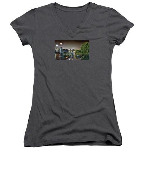 Boston Public Garden - Lagoon Bridge Women's V-Neck T-Shirt (Junior Cut) by Brendan Reals