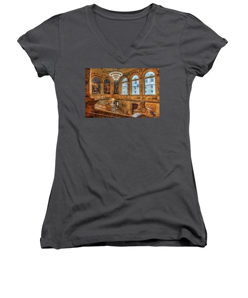 Women's V-Neck T-Shirt (Junior Cut) featuring the photograph Boston Public Library Architecture by Joann Vitali