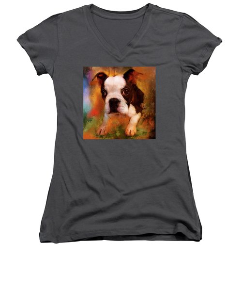Boston Puppy Women's V-Neck T-Shirt