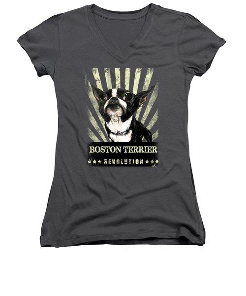 Boston Terrier Revolution Women's V-Neck (Athletic Fit)