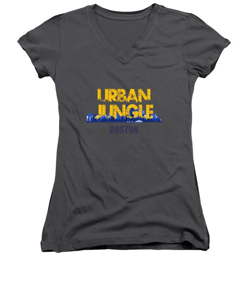 Boston Urban Jungle Shirt Women's V-Neck T-Shirt (Junior Cut) by Joe Hamilton