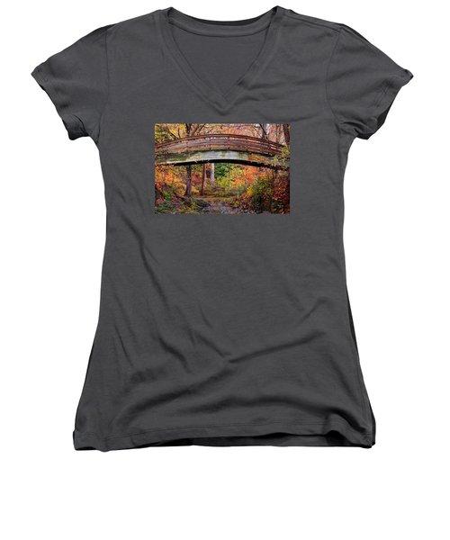 Botanical Gardens Arched Bridge Asheville During Fall Women's V-Neck