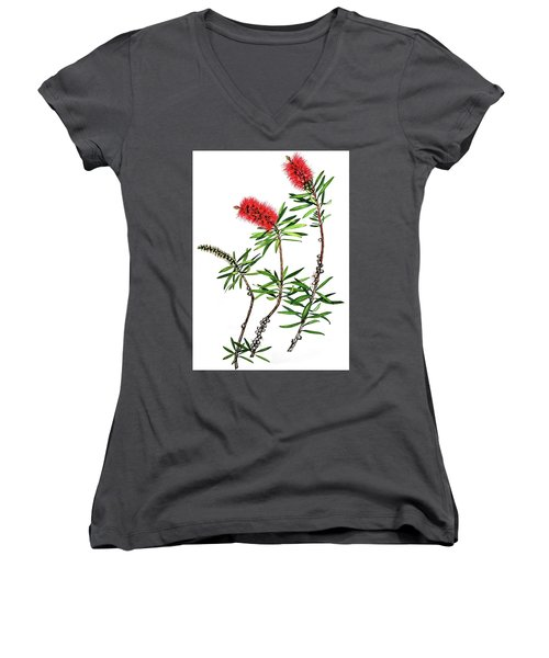 Women's V-Neck T-Shirt (Junior Cut) featuring the painting Bottle Brush by Heidi Kriel