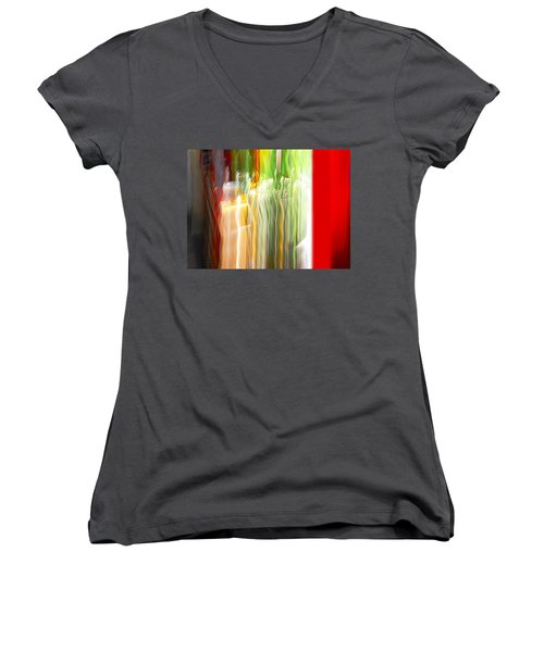 Women's V-Neck T-Shirt (Junior Cut) featuring the photograph Bottle By The Window by Susan Capuano