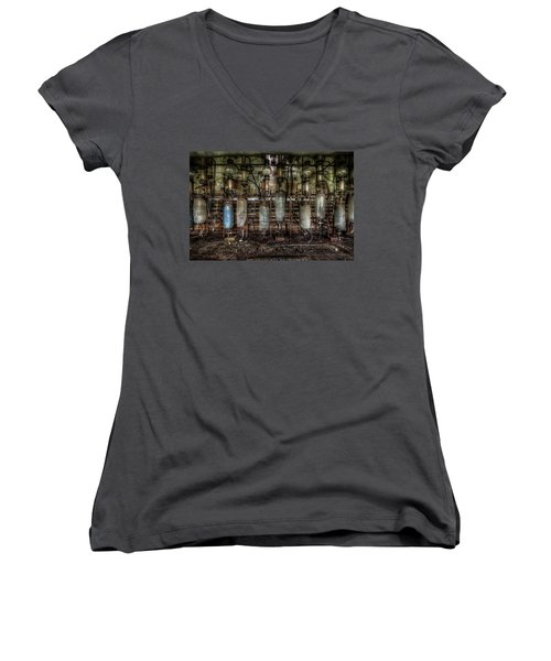 Women's V-Neck T-Shirt (Junior Cut) featuring the digital art Bottles Hanging On The Wall  by Nathan Wright