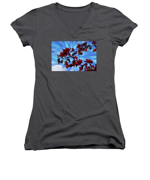 Bougainvillea At Joe's Secret Garden Iv Women's V-Neck T-Shirt (Junior Cut) by Al Bourassa