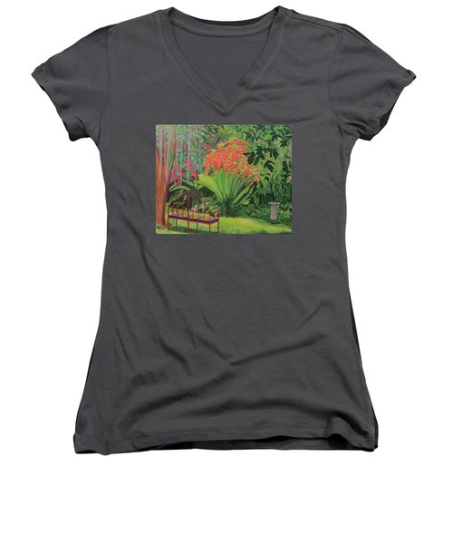 Women's V-Neck T-Shirt (Junior Cut) featuring the painting Bougainvillea Garden by Hilda and Jose Garrancho