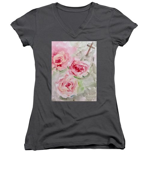 Bought With A Price Women's V-Neck T-Shirt (Junior Cut) by Trilby Cole