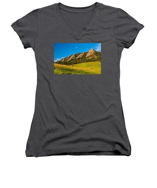 Boulder Colorado Flatirons Sunrise Golden Light Women's V-Neck