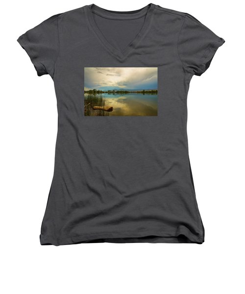 Women's V-Neck T-Shirt featuring the photograph Boulder County Colorado Calm Before The Storm by James BO Insogna