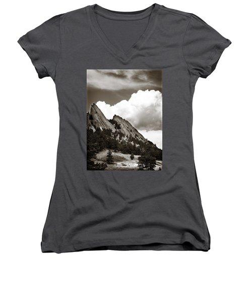 Large Cloud Over Flatirons Women's V-Neck T-Shirt (Junior Cut) by Marilyn Hunt