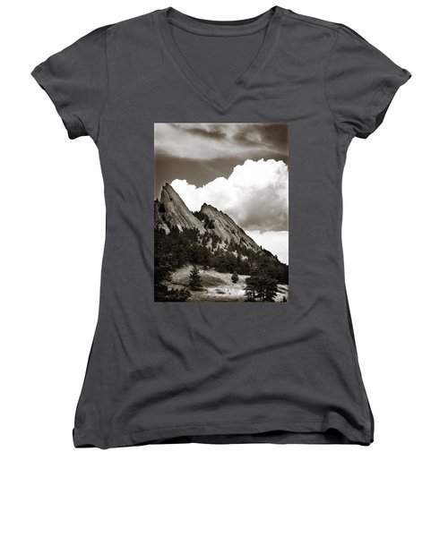 Large Cloud Over Flatirons Women's V-Neck (Athletic Fit)