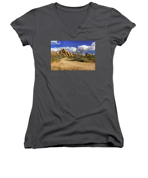 Boulders At Apple Valley Women's V-Neck T-Shirt (Junior Cut) by James Eddy