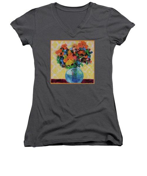 Bouquet-a-day #7 Original Acrylic Painting Free Shipping 59.00 By Elaine Elliott Women's V-Neck T-Shirt (Junior Cut) by Elaine Elliott