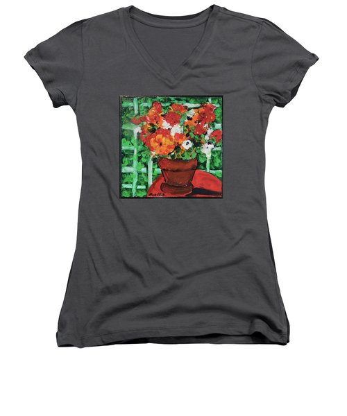 Women's V-Neck T-Shirt (Junior Cut) featuring the painting Bouquet A Day Floral Painting Original 59.00 By Elaine Elliott by Elaine Elliott