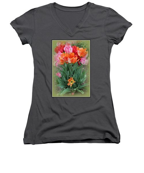 Bouquet Of Colorful Tulips Women's V-Neck T-Shirt (Junior Cut)