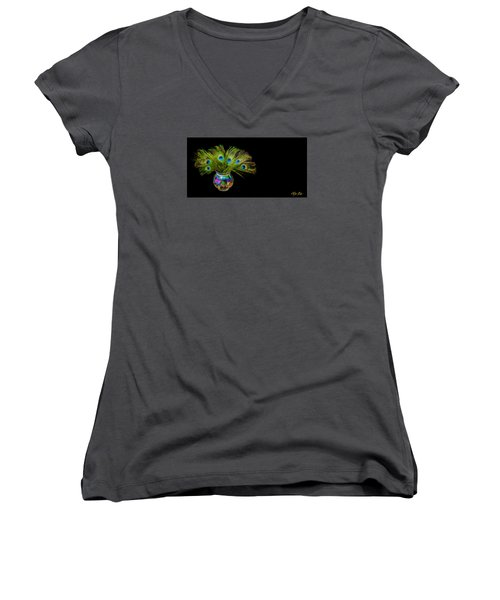 Bouquet Of Peacock Women's V-Neck T-Shirt (Junior Cut) by Rikk Flohr