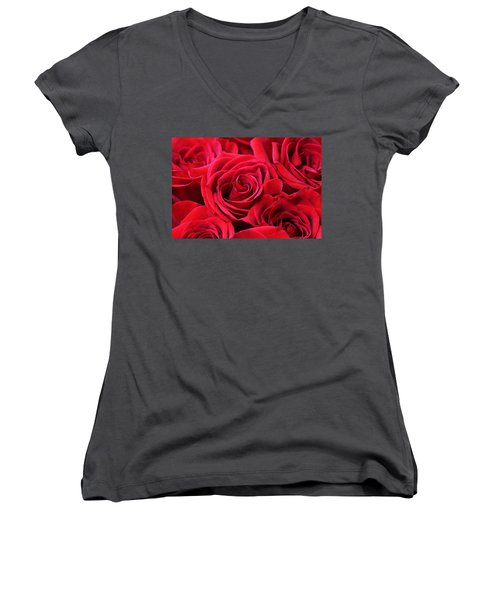 Bouquet Of Red Roses Women's V-Neck