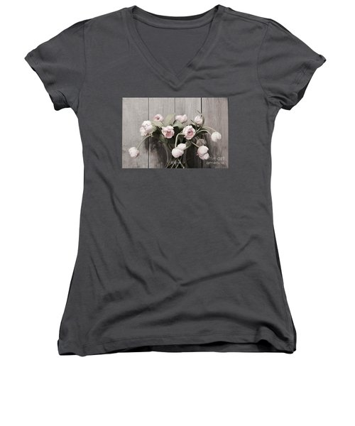 Bouquet Of Tulips Women's V-Neck T-Shirt (Junior Cut) by Jeannie Rhode