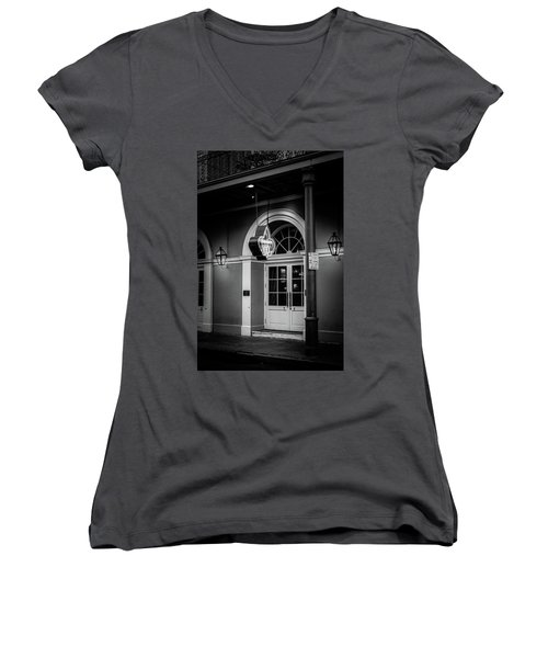 Bourbon O Bar In Black And White Women's V-Neck (Athletic Fit)