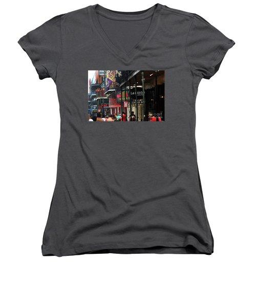 Women's V-Neck T-Shirt (Junior Cut) featuring the photograph Bourbon Street by Steven Spak