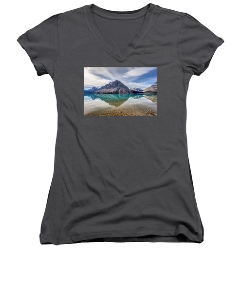 Bow Lake Reflection From Num-ti-jah Lodge  Women's V-Neck