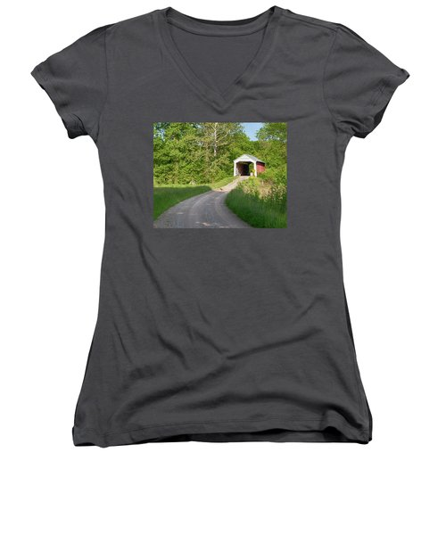 Women's V-Neck T-Shirt (Junior Cut) featuring the photograph Bowser Ford Covered Bridge Lane by Harold Rau