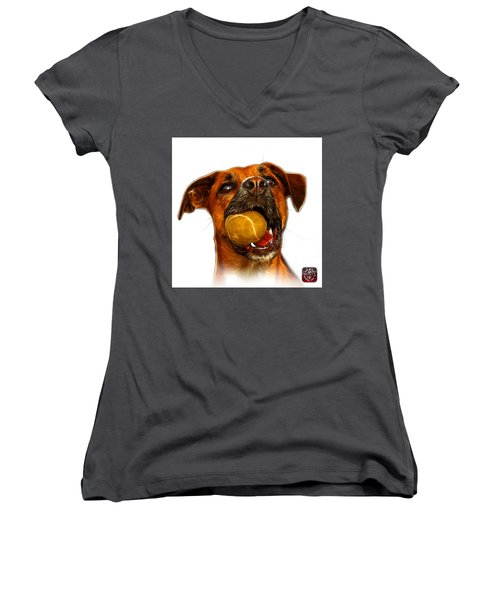 Boxer Mix Dog Art - 8173 - Wb Women's V-Neck (Athletic Fit)